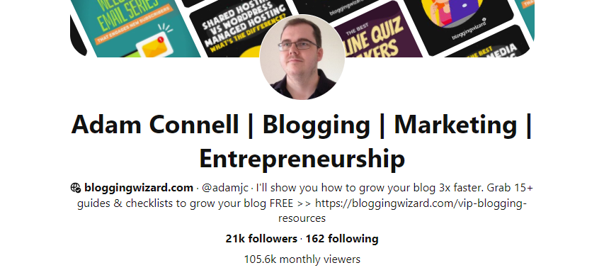 Adam Connell - Blogging Wizard-Pinterest expert