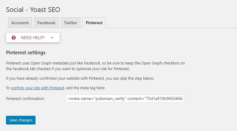 Add HTML tag-Pinterest confirmation