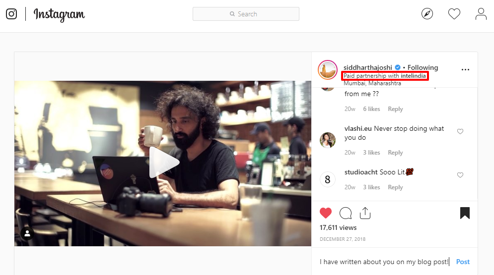 Instagram Sponsorship - Siddhartha Joshi - Intel India