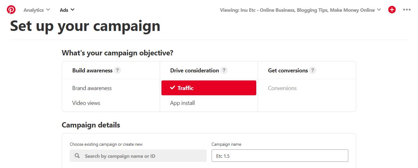 Pinterest keyword Planner - Campaign name