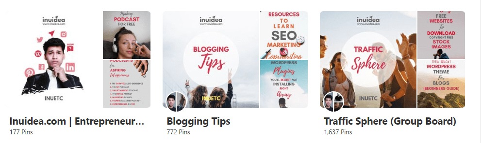 Pinterest boards cover image