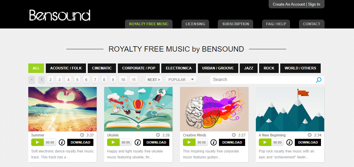 Bensound - download copyright free music