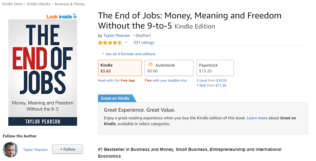 The End of Jobs Money Meaning and Freedom Without the 9-to-5 eBook Taylor Pearson