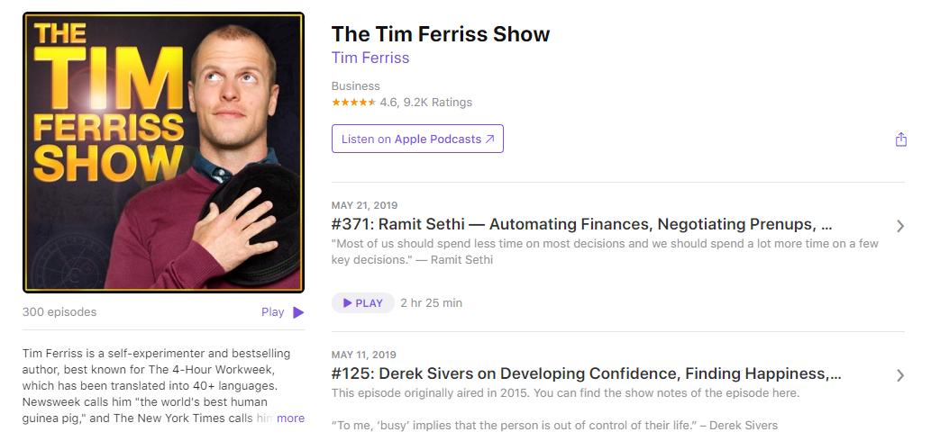 Tim Ferris Show - iTunes